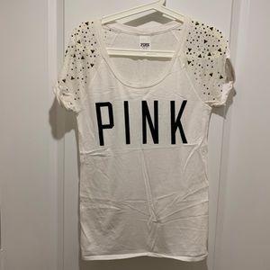 pink white t shirt